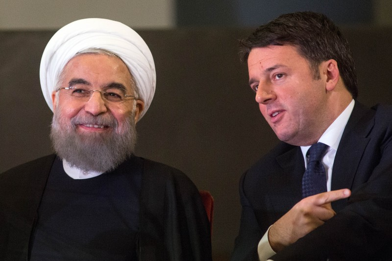 Matteo Renzi, Italy's prime minister, right, speaks with Hassan Rouhani, Iran's president, during their meeting at Capitol Hill in Rome, Italy, on Monday, Jan. 25, 2016. The trip is Rouhani's first to the European Union since his election in 2013 on pledges to end sanctions and improve Iran's ties with the rest of the world. Photographer: Alessia Pierdomenico/Bloomberg via Getty Images
