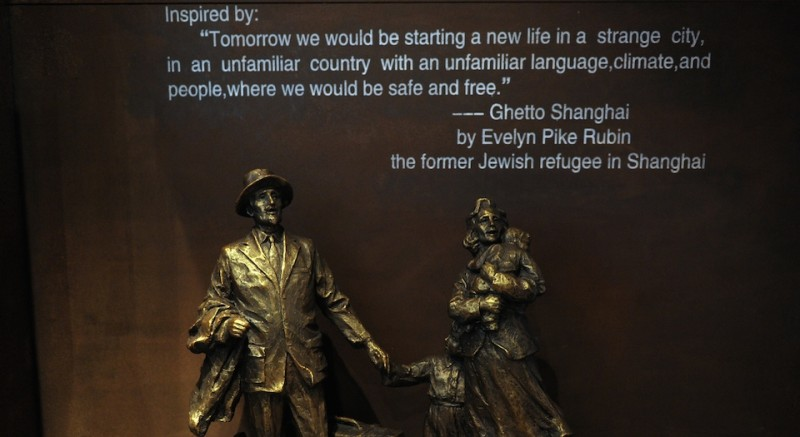 A bronze sculpture depicting Jews arriving in Shanghai in the late 1930's is displayed at the Shanghai Jewish Refugees which Israeli Prime Minister Benjamin Netanyahu visited on May 7, 2013. Netanyahu lauded Shanghai for its past role as a haven for Jewish refugees fleeing Nazi persecution on a visit to the city's former ghetto on May 7, as questions loom over the area's future.  AFP PHOTO / Peter PARKS RESTRICTED TO EDITORIAL USE, MANDATORY MENTION OF THE ARTIST UPON PUBLICATION, TO ILLUSTRATE THE EVENT AS SPECIFIED IN THE CAPTION        (Photo credit should read PETER PARKS/AFP/Getty Images)