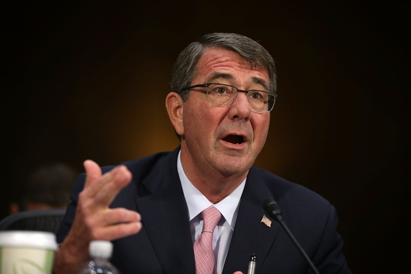 WASHINGTON, DC - DECEMBER 09:  U.S. Defense Secretary Ashton Carter testifies during a hearing before the Senate Armed Services Committee December 9, 2015 on Capitol Hill in Washington, DC. The committee held a hearing on the U.S. strategy to counter the Islamic State of Iraq and the Levant and U.S. policy toward Iraq and Syria.  (Photo by Alex Wong/Getty Images)