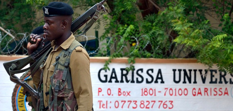 A security officer stands guard at the entrance of Garissa university college on January 11, 2016 after it re-opened following a deadly siege by four gunmen at dawn nine months ago. Students trickled back on January 11, 2016 for classes at the Garissa campus in north eastern Kenya amid high security after a deadly siege by four gunmen on April 2, 2015. At least 148 people, mainly students were killed. The high-profile assault of Garissa university college was the deadliest yet in Kenya by the Somali-led, Al-Qaeda linked Shebab islamists group. / AFP / TONY KARUMBA        (Photo credit should read TONY KARUMBA/AFP/Getty Images)