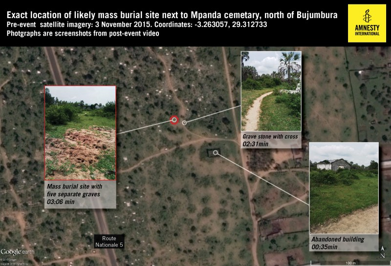 Satellite imagery of specific location of mass burial site in Burundi