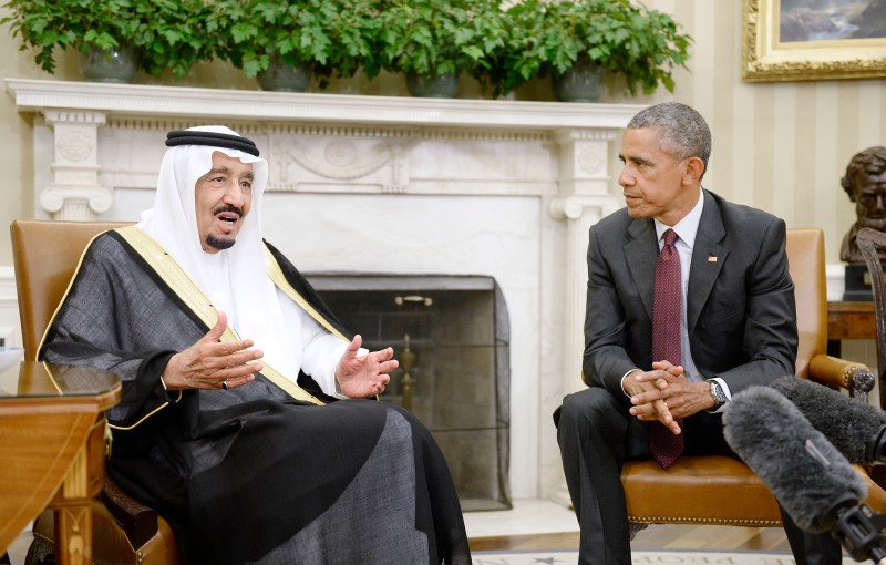 WASHINGTON, DC - SEPTEMBER 04:  U.S. President Barack Obama looks on as King Salman bin Abd alAziz of Saudi Arabia speaks during a  bilateral meeting in the Oval Office of the White House September 4, 2015 in Washington, D.C. The President and the King were expected to discuss various issues including joint security and counter-terrorism efforts (Photo by Olivier Douliery-Pool/Getty Images)