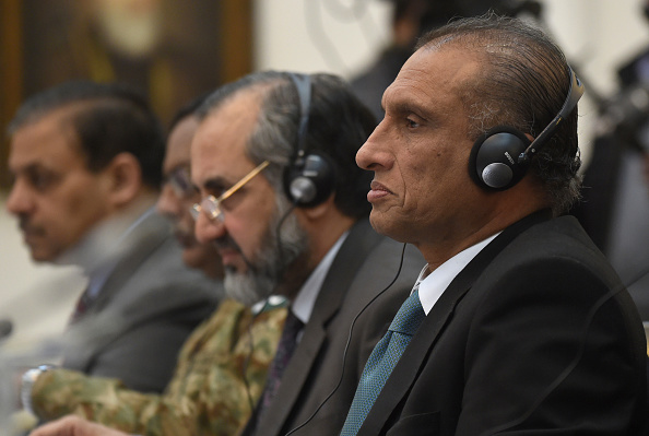 Pakistani Foreign Secretary, Aizaz Ahmad Chaudhry (R) listens during the second round of four-way peace talks at the Presidential palace in Kabul on January 18, 2016. A second round of four-country talks aimed at reviving peace negotiations with the Taliban began in Kabul on January 18, even as the insurgents wage an unprecedented winter campaign of violence across Afghanistan. Delegates from Afghanistan, Pakistan, China and the United States convened in the Afghan capital for a one-day meeting seeking a negotiated end to the bloody 14-year insurgency. AFP PHOTO / SHAH Marai / AFP / SHAH MARAI        (Photo credit should read SHAH MARAI/AFP/Getty Images)