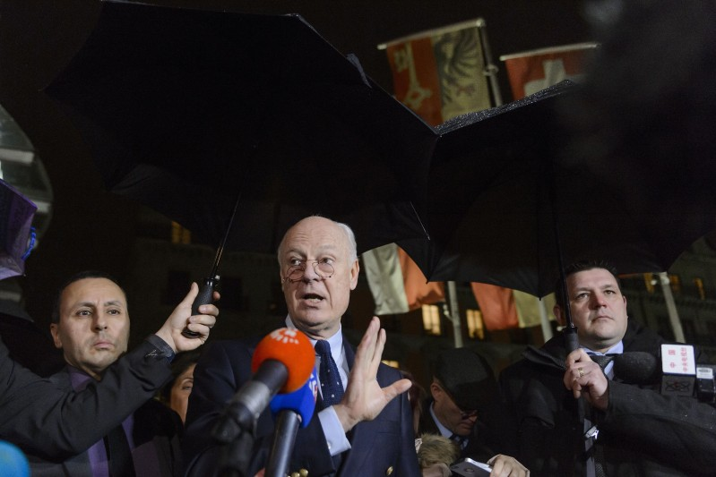 """UN Syria envoy Staffan de Mistura gestures during a press briefing during Syrian peace talks on February 3, 2016 in Geneva.  The UN special envoy for Syria announced on Wednesday a """"temporary pause"""" until February 25 of troubled talks in Switzerland aimed at ending the civil war. / AFP / FABRICE COFFRINI        (Photo credit should read FABRICE COFFRINI/AFP/Getty Images)"""