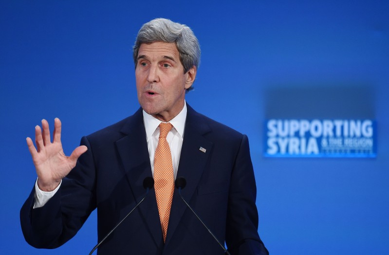 US Secretary of State John Kerry addresses delegates during during a donor conference entitled 'Supporting Syria & The Region' at the QEII centre in central London on February 4, 2016. World leaders gather in London on Thursday to try to raise $9 billion (8.3 billion euros) for the millions of Syrians hit by the country's civil war and a refugee crisis spanning Europe and the Middle East.   / AFP / POOL / ANDY RAIN        (Photo credit should read ANDY RAIN/AFP/Getty Images)