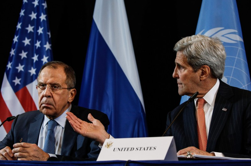 MUNICH, GERMANY. FEBRUARY 12, 2016. Russia's Foreign Minister Sergei Lavrov (L) and US Secretary of State John Kerry during a press conference following a meeting of the International Syria Support Group. Alexander Shcherbak/TASS (Photo by Alexander ShcherbakTASS via Getty Images)