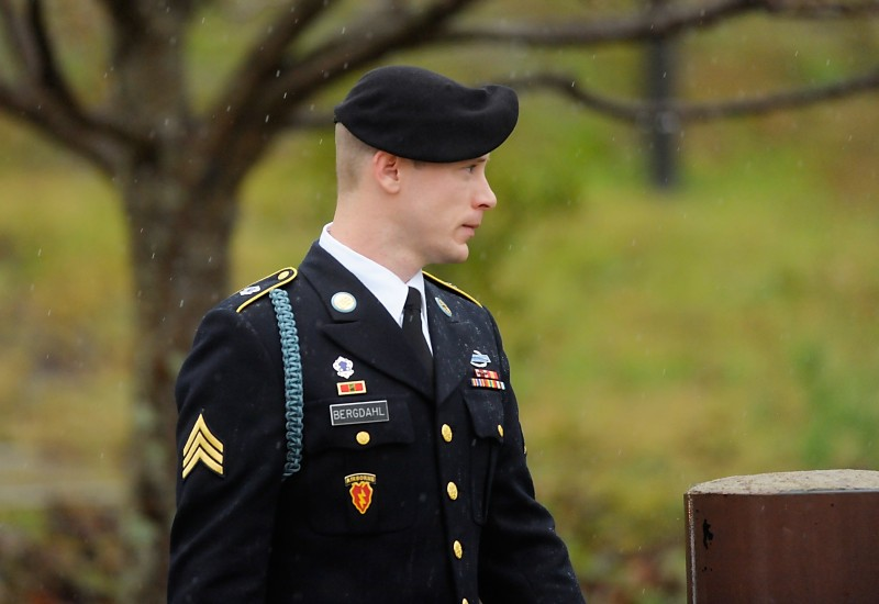 FT. BRAGG, NC - DECEMBER 22: Army Sgt. Bowe Bergdahl of Hailey, Idaho, leaves a military courthouse on December 22, 2015 in Ft. Bragg, North Carolina. Bergdahl was arraigned on charges of desertion and endangering troops stemming from his decision to leave his outpost in Afghanistan in 2009. He was captured by the Taliban and spent five years in captivity before being freed in a prisoner exchange. (Photo by Sara D. Davis/Getty Images)