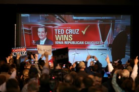 Republican presidential candidate Sen. Ted Cruz (R-TX) speaks to supporters as he attends a caucus night gathering at the Iowa State Fairgrounds on February 1, 2016 in Des Moines, Iowa.