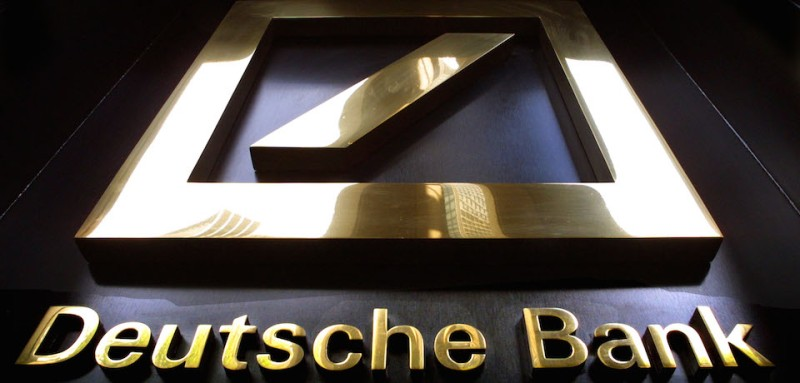 391781 03: The Deutsche Bank headquarters sign is on display July 11, 2001 in New York City. (Photo by Mario Tama/Getty Images)