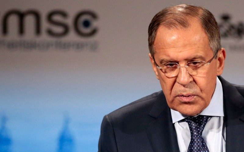 MUNICH, GERMANY - FEBRUARY 07:  Russian minister of foreign affairs Sergey V. Lavrov delivers a keynote speech at the 51st Munich Security Conference (MSC) on February 7, 2015 in Munich, Germany. Foreign ministers and defense ministers from countries across the globe are meeting to discuss current global security issues, in particular the crisis in eastern Ukraine, the spread of ISIS in Syria and Iraq and the large-scale movement and plight of refugees.  (Photo by Johannes Simon/Getty Images)