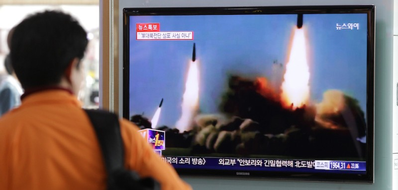 <> on March 26, 2014 in Seoul, South Korea. North Korea test-launched two Nodong ballistic missiles into the East Sea in the morning of March 26, 2014, according to South Korea's military report.