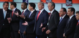 CLEVELAND, OH - AUGUST 06:  Republican presidential candidates (L-R) New Jersey Gov. Chris Christie, Sen. Marco Rubio (R-FL), Ben Carson, Wisconsin Gov. Scott Walker, Donald Trump, Jeb Bush, Mike Huckabee, Sen. Ted Cruz (R-TX) and Sen. Rand Paul (R-KY) take the stage for the first prime-time presidential debate hosted by FOX News and Facebook at the Quicken Loans Arena August 6, 2015 in Cleveland, Ohio. The top-ten GOP candidates were selected to participate in the debate based on their rank in an average of the five most recent national political polls.  (Photo by Scott Olson/Getty Images)