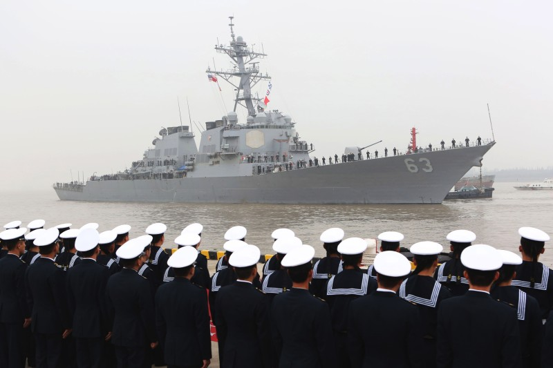 SHANGHAI, CHINA - NOVEMBER 16:  (CHINA OUT) The Arleigh Burke-class destroyer USS Stethem (DDG 63) arrives at the Wusong military port on November 16, 2015 in Shanghai, China. The ship is on a 5-day official visit to Shanghai.  (Photo by ChinaFotoPress/ChinaFotoPress via Getty Images)