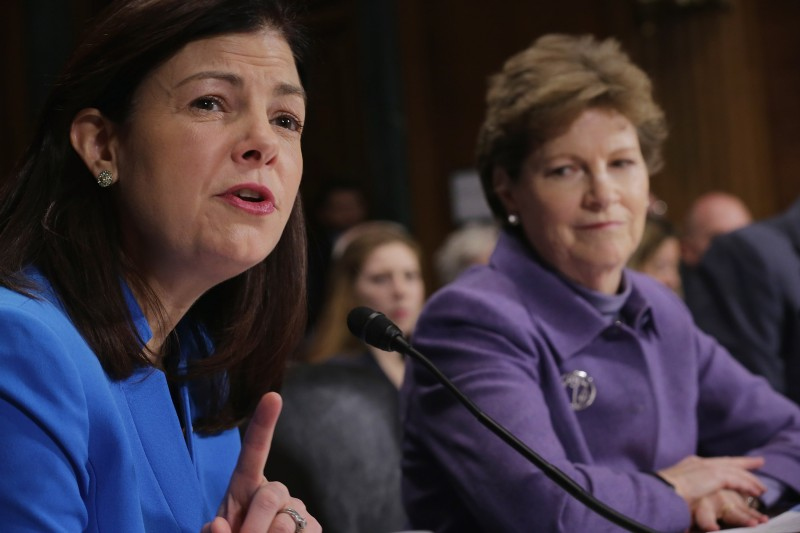 WASHINGTON, DC - JANUARY 27:  New Hampshire senators Kelly Ayotte (R-NH) (L) and Jeanne Shaheen (D-NH) testify before the Judiciary Committee about the impact of heroin and prescription drug abuse and deaths during a hearing in the Dirksen Senate Office Building on Capitol Hill January 27, 2016 in Washington, DC. The committee is working on several pieces of legislation that would assist states with abuse prevention and treatment and prosecution of those responsible for the recent spike in heroin and perscription drug overdose deaths.  (Photo by Chip Somodevilla/Getty Images)