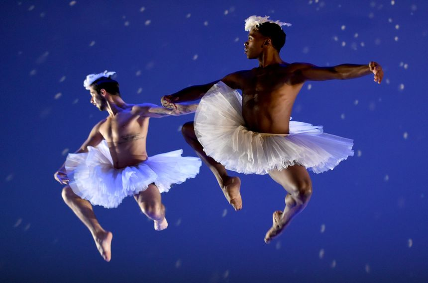 Dancers during a dress rehearsal before the opening night of the New York Premiere Of Dada Masilos Swan Lake at the Joyce Theater in New York February 2, 2016.  Aspects of Tchaikovskys original music for Swan Lake are fit Masilos more modern vision, which fearlessly addresses issues of sex, womens rights and homophobia in a country that is ravaged by AIDS. / AFP / Timothy A. CLARY        (Photo credit should read TIMOTHY A. CLARY/AFP/Getty Images)