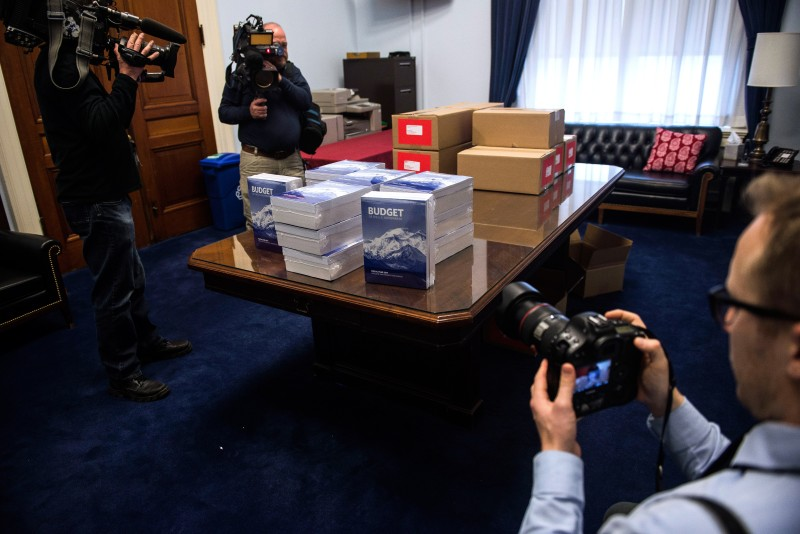 WASHINGTON, DC - FEBRUARY 9:     Members of the media photograph the PresidentÕs FY 2017 Budget to the House Budget Committee Room in the Cannon House Office Building on February 9, 2016 in Washington, D.C.President Obama releases his $4 trillion-plus budget in his final year at the White House.   (Photo by Gabriella Demczuk/Getty Images)