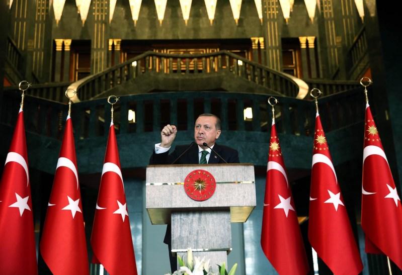 ANKARA, TURKEY - FEBRUARY 17: President of Turkey Recep Tayyip Erdogan delivers a speech during the 2th Local administrators meeting at Presidential complex in Ankara, Turkey on February 17, 2016. (Photo by Murat Cetinmuhurdar/Turkish Presidency/Anadolu Agency/Getty Images)