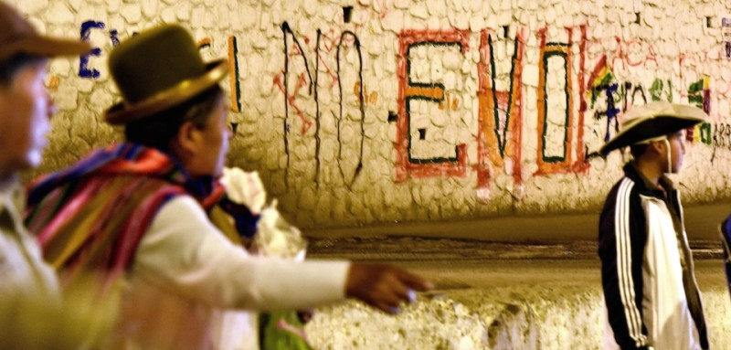 """No Evo"" graffiti in El Alto, Bolivia on Feb. 21. (Aizar Raldes/AFP/Getty Images)"