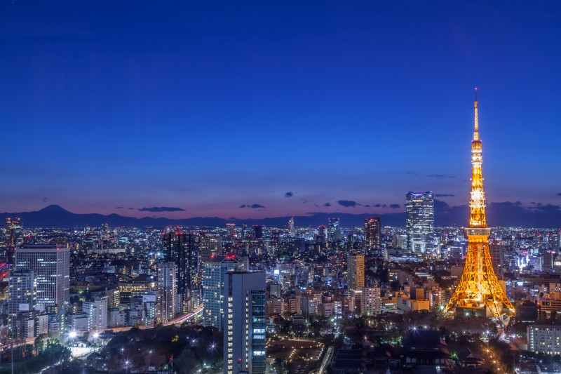 Aerial view of Tokyo city with Tokyo tower and Mount.Fuji, Japan at night.