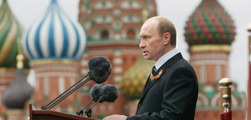 "Moscow, RUSSIAN FEDERATION: Russian President Vladimir Putin delivers a speech in Red Square in Moscow, 09 May 2007, during the annual celebration of the end of World War II. Putin took a veiled swipe at Estonia 09 May 2007 during celebrations of the Soviet victory over Nazi Germany in World War II. ""Those who are trying today to diminish this invaluable experience, to desecrate memorials to war heroes, are insulting their own people, sowing discord and new distrust between states and people,"" Putin said at a massive military parade on Red Square. AFP PHOTO / ITAR-TASS / PRESIDENTIAL PRESS SERVICE (Photo credit should read DMITRY ASTAKHOV/AFP/Getty Images)"