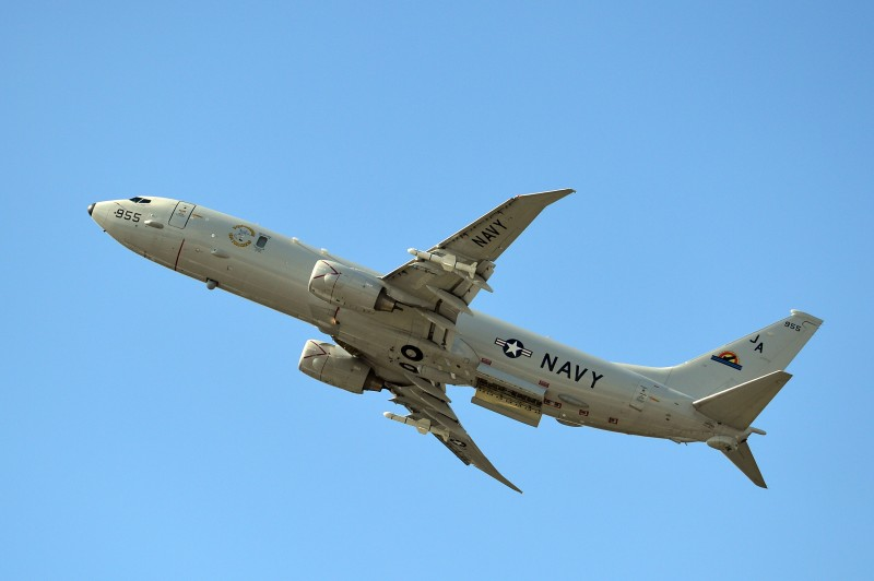 A Boeing P-8-A Poseidon is pictured during an air display on the second day of the Farnborough International Air show in Hampshire, England, on July 15, 2014.  The biennial event sees leading companies from the aviation industry showcase their latest technology. AFP PHOTO / CARL COURT        (Photo credit should read CARL COURT/AFP/Getty Images)