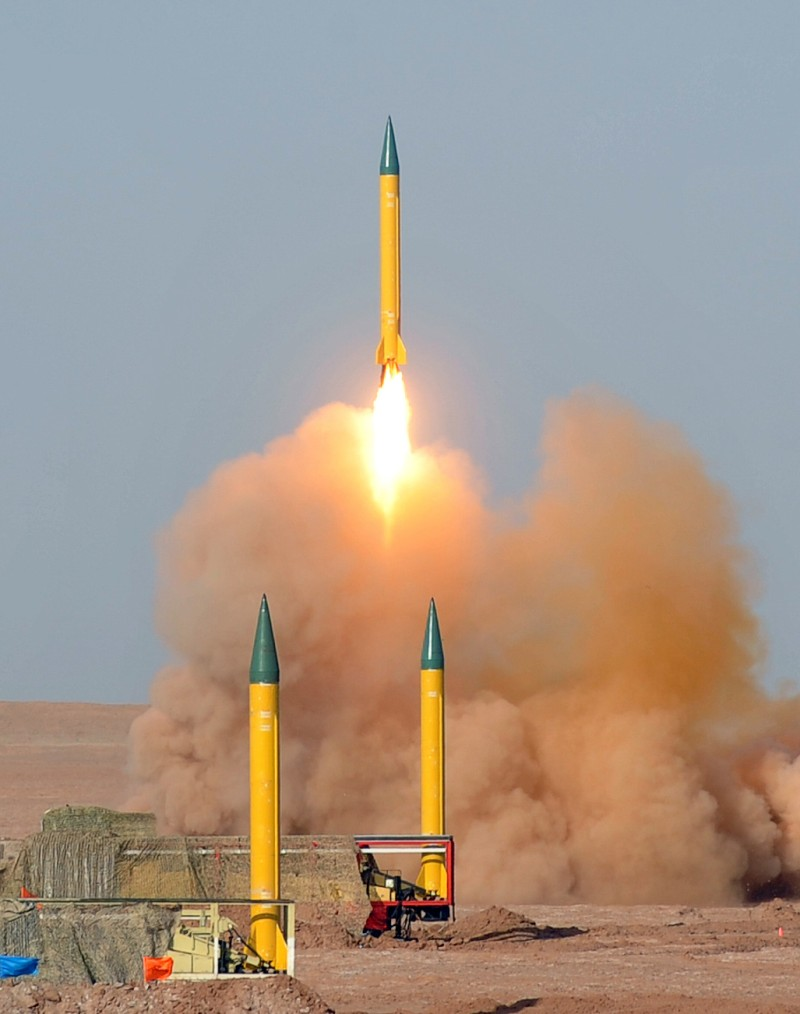 In a picture obtained from Iran's ISNA news agency on July 3, 2012, shows an Iranian long-range Shahab-1 missile launched during the second day of military exercises, codenamed Great Prophet-7, for Iran's elite Revolutionary Guards at an undisclosed location in Iran's Kavir Desert. AFP PHOTO/ISNA/ARASH KHAMOUSHI =AFP IS USING PICTURES FROM ALTERNATIVE SOURCES AS IT WAS NOT AUTHORISED TO COVER THIS EVENT, THEREFORE IT IS NOT RESPONSIBLE FOR ANY DIGITAL ALTERATIONS TO THE PICTURE'S EDITORIAL CONTENT, DATE AND LOCATION WHICH CANNOT BE INDEPENDENTLY VERIFIED ==        (Photo credit should read ARASH KHAMOUSHI/AFP/GettyImages)