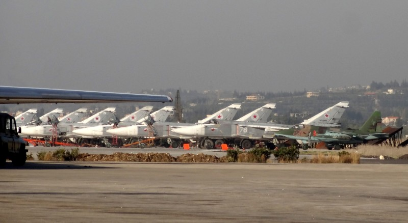 A general view shows Russian fighter jets on the tarmac at the Russian Hmeimim military base in Latakia province, in the northwest of Syria, on February 16, 2016.                            Russia launched air strikes in support of Syria's government in September 2015.  / AFP / STRINGER        (Photo credit should read STRINGER/AFP/Getty Images)
