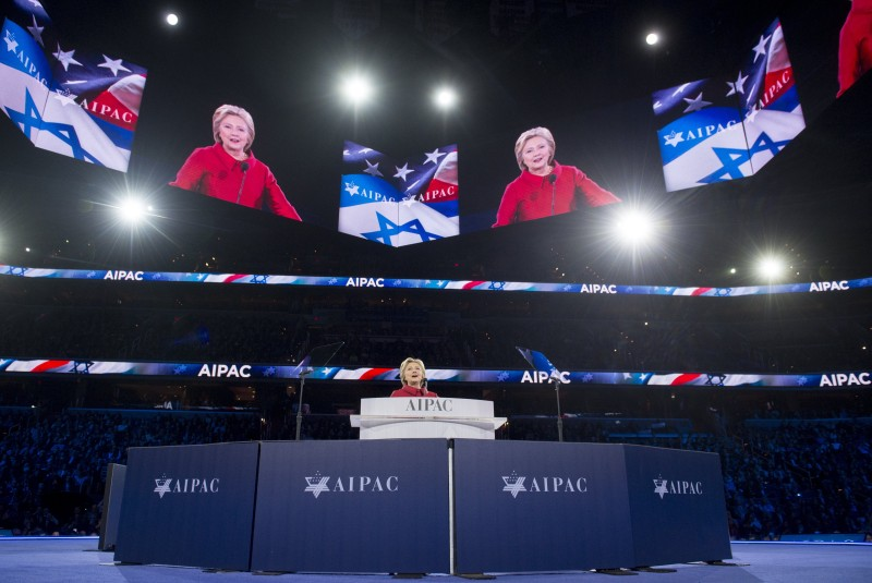 US Democratic presidential hopeful former Secretary of State Hillary Clinton speaks during the American Israel Public Affairs Committee (AIPAC) 2016 Policy Conference at the Verizon Center in Washington, DC, March 21, 2016. / AFP / SAUL LOEB        (Photo credit should read SAUL LOEB/AFP/Getty Images)