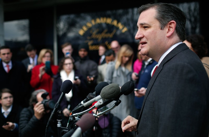 WASHINGTON, DC - MARCH 22:  Republican presidential candidate Sen. Ted Cruz (R-TX) addresses the bombings in Brussels during remarks March 22, 2016 in Washington, DC. Reports indicate at least 34 people have died and scores more injured in the bombings at the airport and Metro.  (Photo by Win McNamee/Getty Images)