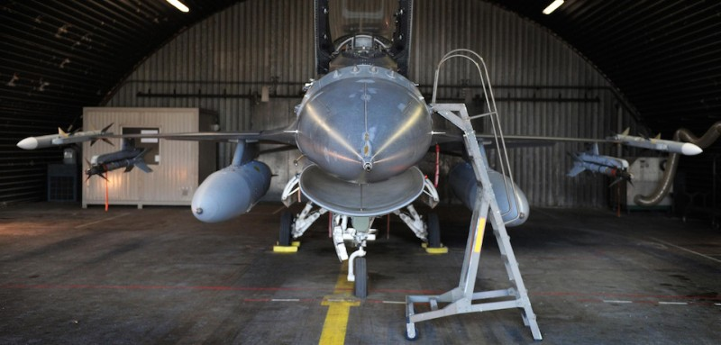 A fully armed F-16 fighter jet is pictured at the military base of the 10th Tactical Wing, in Kleine Brogel, Peer, on March 21, 2011. Six Belgian F-16 fighter jets will be active in the ongoing military operations in Libya. AFP PHOTO/BELGA /YORICK JANSENS =Belgium Out= (Photo credit should read YORICK JANSENS/AFP/Getty Images)