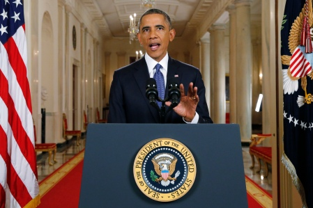 WASHINGTON, DC - NOVEMBER 20: U.S. President Barack Obama announces executive actions on U.S. immigration policy during a nationally televised address from the White House, November 20, 2014 in Washington, DC. Obama outlined a plan on Thursday to ease the threat of deportation for about 4.7 million undocumented immigrants. (Photo by Jim Bourg-Pool/Getty Images)
