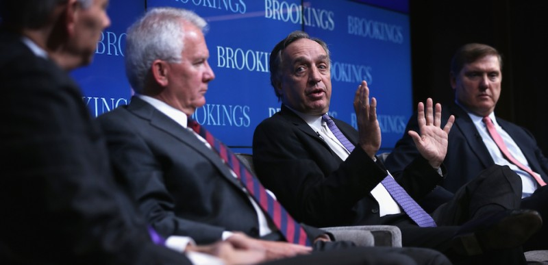 "WASHINGTON, DC - FEBRUARY 05:  Stanley Black and Decker CEO John Lundgren (3rd L) speaks as (L-R) moderator Dominic Barton, PACCAR CEO Ron Armstrong, and President and CEO of Siemens Corporation Eric Spiegel listen during a panel discussion of a forum at Brookings Institution February 5, 2015 in Washington, DC. The Brookings Institution's Metropolitan Policy Program held a forum on ""Powering Prosperity: Introducing America's Advanced Industries.""  (Photo by Alex Wong/Getty Images)"