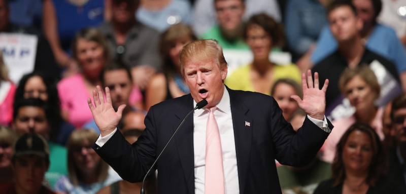 OSKALOOSA, IA - JULY 25:  Republican presidential hopeful businessman Donald Trump speaks to guests gathered for a rally on July 25, 2015 in Oskaloosa, Iowa. During his last visit to the state Trump sparked controversy when he said Senator John McCain (R-AZ), a former POW, was not a war hero.  (Photo by Scott Olson/Getty Images)