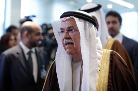 Ali Bin Ibrahim al-Naimi, Saudi Arabia's petroleum and mineral resources minister, arrives ahead of the 168th Organization of Petroleum Exporting Countries (OPEC) meeting in Vienna, Austria, on Friday, Dec. 4, 2015. Oil headed for its fourth decline in five weeks as the Organization of Petroleum Exporting Countries looked set to leave its production ceiling unchanged at a meeting in Vienna on Friday. Photographer: Lisi Niesner/Bloomberg via Getty Images