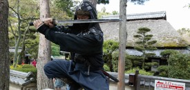 UENO, JAPAN:  An authentic master of ninjutsu martial art, Kazuki Ukita poses in Ninja costume at the Ninja museum's Ninja residence in the small ancient city of Ueno 08 April 2002. South African national football team selected its base camp in Ueno city, Mie Prefecture for upcoming FIFA 2002 World Cup Korea/Japan.  South Africa will play Spain, Slovenia and Paraguay in Group B in the first round of the World Cup.  AFP PHOTO / TOSHIFUMI KITAMURA (Photo credit should read )