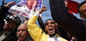 "Moroccan protesters hold placards and shout slogans in the capital Rabat, on March 13, 2016, during a demonstration against statements made by the United Nations chief earlier in the week regarding the Western Sahara, a disputed territory between Morocco and the Polisario Front, following his visit to a camp for refugees from the territory. Hundreds of thousands of people rallied in Rabat to protest against UN chief Ban Ki-moon's ""lack of neutrality"" over Western Sahara. The UN has been trying to oversee an independence referendum for Western Sahara since 1992 after a ceasefire was reached to end a war that broke out when Morocco sent its forces to the former Spanish territory in 1975. The Algerian-backed Polisario Front is seeking independence for the territory, a demand ruled out by Morocco which argues for a broad autonomy for the territory under its sovereignty. Earlier this month Ban visited a camp in Algeria for refugees from Western Sahara as part of a regional tour and spoke of a ""human tragedy"". He also announced plans to re-launch UN-sponsored talks between Rabat and the Polisario Front.  On March 8, the Moroccan government, in a statement issued by the foreign ministry, accused Ban of speaking out of line and of allegedly using the word ""occupation"" to describe the status of Western Sahara. / AFP / FADEL SENNA        (Photo credit should read FADEL SENNA/AFP/Getty Images)"