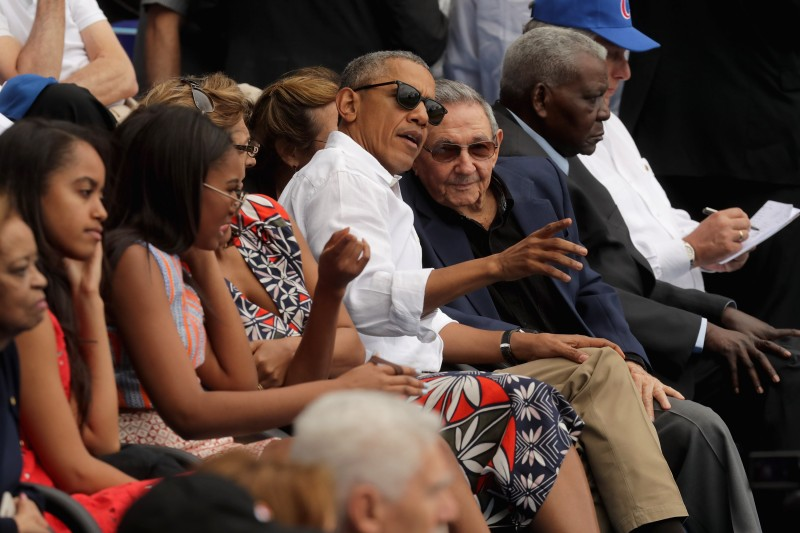HAVANA, CUBA - MARCH 22:  U.S. President Barack Obama and Cuban President Raul Castro visit during an exhibition game between the Cuban national team and the Major League Baseball team Tampa Bay Devil Rays at the Estado Latinoamericano March 22, 2016 in Havana, Cuba. This is the first time a sittng president has visited Cuba in 88 years.  (Photo by Chip Somodevilla/Getty Images)