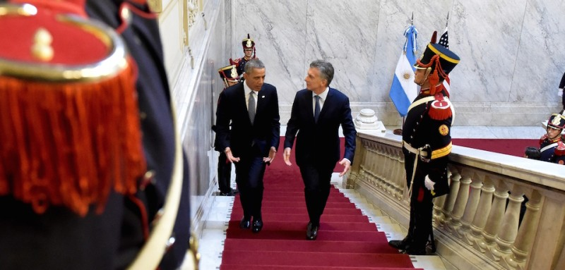 """BUENOS AIRES, ARGENTINA - MARCH 23: US President Barack Obama (L) and Argentina's President Mauricio Macri (R) meet at presidential palace """"Casa Rosada"""" within Obama's two days long official visit in Buenos Aires, Argentina on March 23, 2016.  (Photo by )"""