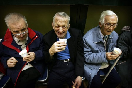 GLASGOW, UNITED KINGDOM - FEBRUARY 22: Senior Citizens take part in the Kelvinside weekly tea dance, 22 February 2005, Glasgow, Scotland. There are 11.22 million pensioners in the UK - 4.19 million men and 7.03 million women. The so called 'grey' vote will be important in the forthcoming election with all the major political parties canvassing for senior citizens support. (Photo by Christopher Furlong/Getty Images)