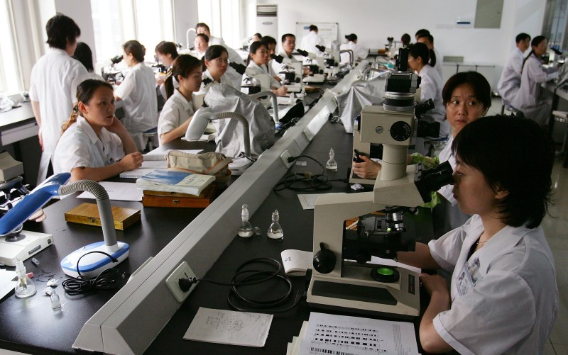 CHANGSHA, HUNAN - JUNE 19:  Chinese scientists work at the national laboratory of medical genetics of China in Central South University June 19, 2006 in Changsha city, Hunan province of China. The lab was founded in 1972. In 1991, the laboratory was selected and founded by the national government as the national laboratory of medical genetics.The research in the lab focuses on mapping, identification, and functional analysis of the hereditary disease linked genes. Its research has recently been extended to gene therapy and human cell. Scientists in the lab have contributed more than 300 scientific publications since its establishment.  (Photo by Guang Niu/Getty Images)