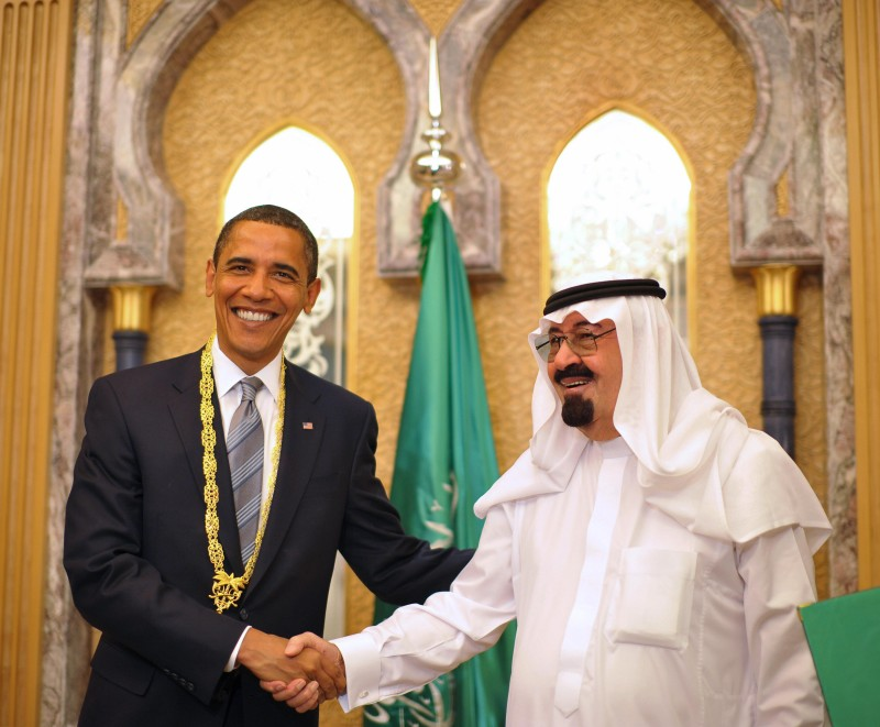 US President Barack Obama (L) shakes hands with Saudi King Abdullah bin Abdul Aziz al-Saud after he was presented with the King Abdul Aziz Order of Merit during a bilateral meeting at the king's ranch in al-Janadriya in the outskirts of Riyadh June 3, 2009. Obama launched a landmark Middle East trip to reach out to the world's Muslims, but earned a swift rebuke from Osama bin Laden in a stinging new audiotape. AFP PHOTO/Mandel NGAN (Photo credit should read MANDEL NGAN/AFP/Getty Images)