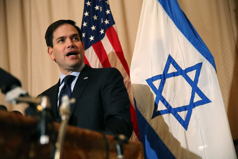WEST PALM BEACH, FL - MARCH 11:  Republican presidential candidate U.S. Sen. Marco Rubio (R-FL) speaks to the media during a press conference at the Temple Beth El to discuss his commitment to stand with Israel on March 11, 2016 in West Palm Beach, Florida.  Presidenital candidates continue to campaign for votes leading up to the March 15th Florida primary.  (Photo by Joe Raedle/Getty Images)