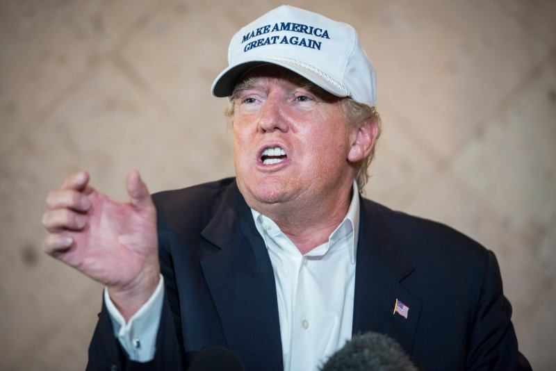 LAREDO, TEXAS - JULY 23: Republican Presidential candidate and business mogul Donald Trump talks to the media at a press conference during his trip to the border on July 23, 2015 in Laredo, Texas. Trump's recent comments, calling some immigrants from Mexico as drug traffickers and rapists, have stirred up reactions on both sides of the aisle. Although fellow Republican presidential candidate Rick Perry has denounced Trump's comments and his campaign in general, U.S. Senator from Texas Ted-Cruz has so far refused to bash his fellow Republican nominee. (Photo by Matthew Busch/Getty Images)