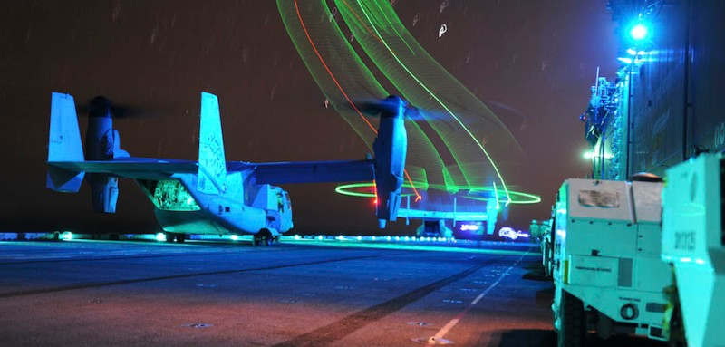 151212-N-OF476-030  PACIFIC OCEAN (Dec 12, 2015) An MV-22 Osprey assigned to Marine Medium Tilt Squadron (VMM) 166 (Reinforced) launches from amphibious assault ship USS Boxer (LHD 4) in support of a long-range raid exercise. The Boxer Amphibious Ready Group (ARG) is underway off the coast of Southern California completing a certification exercise (CERTEX). CERTEX is the final evaluation of the 13th Marine Expeditionary Unit (13th MEU) and Boxer ARG prior to deployment and is intended to certify their readiness to conduct integrated missions across the full spectrum of military operations. (U. S. Navy photo by Mass Communication Specialist Seaman Eric C. Burgett/Released)
