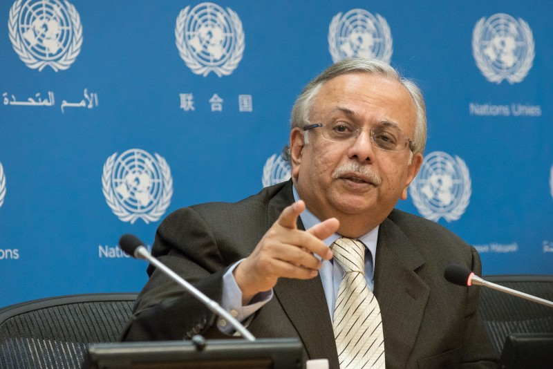 UN HEADQUARTERS, NEW YORK, NY, UNITED STATES - 2016/03/04: Ambassador Al-Mouallimi speaks to the UN press corps. Amid speculation based upon the previous day's Security Council session on the crisis in Yemen, Saudi Arabian Ambassador to the United Nations Abdallah Al-Mouallimi spoke at a press briefing to reaffirm his nation's position that the existing Council Resolution 2216 provides a sufficient framework for political discussions surround Yemen and to deny that Saudi forces have been responsible in any way for the humanitarian crisis there. (Photo by Albin Lohr-Jones/Pacific Press/LightRocket via Getty Images)