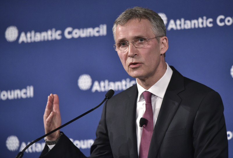 NATO Secretary General Jens Stoltenberg speaks during an Atlantic Council discussion on NATO and stability on April 6, 2016 at a hotel in Washington, DC. / AFP / Mandel Ngan        (Photo credit should read MANDEL NGAN/AFP/Getty Images)
