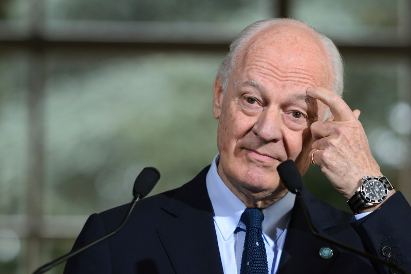 UN Syria envoy Staffan de Mistura addresses journalists after a meeting on Syria peace talks in Geneva on April 18, 2016.  Syria's opposition urged the UN to pause peace talks until Damascus shows it is serious about political transition, as rebel groups vowed to strike back against alleged ceasefire violations. / AFP / FABRICE COFFRINI        (Photo credit should read FABRICE COFFRINI/AFP/Getty Images)