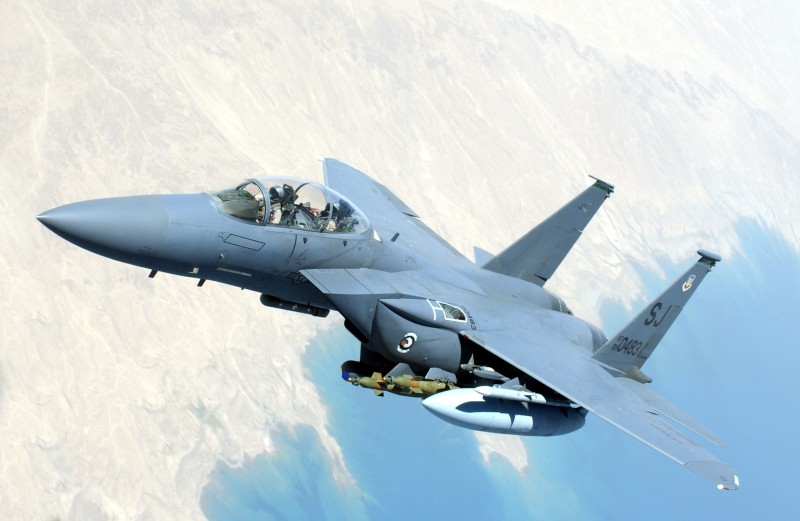IN FLIGHT - JULY 6:  In this handout image provided by the U.S. Air Force, an F-15 Strike Eagle flies over Southwest Asia during combat operations in support of Operation Iraqi Freedom July 6, 2004 while in flight.  (Photo by Lee O. Tucker/U.S. Air Force via Getty Images)