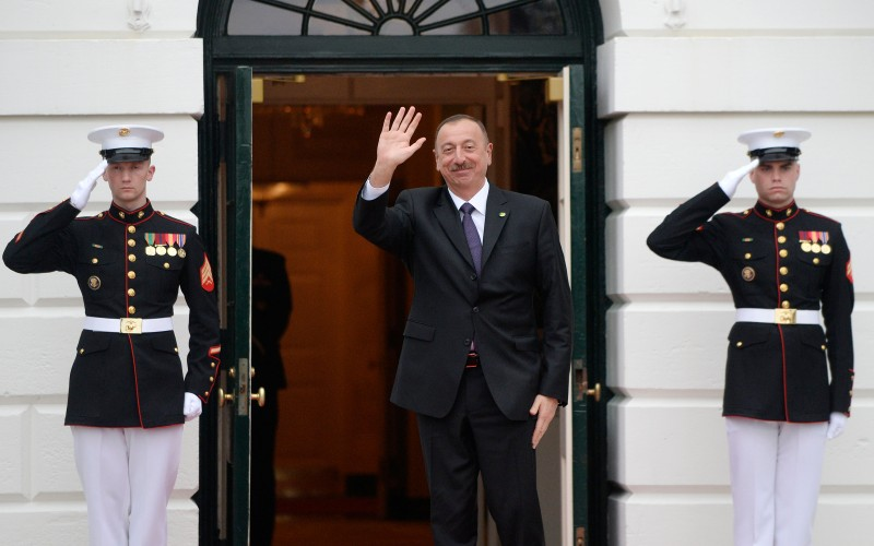 Ilham Aliyev, President of  Azerbaijan, arrives for a working dinner at the White House March 31, 2016 in Washington, DC. World leaders are gathering for a two-day conference that will address a range of issues including ongoing efforts to prevent terrorist groups from accessing nuclear material.  / AFP / Olivier Douliery        (Photo credit should read OLIVIER DOULIERY/AFP/Getty Images)