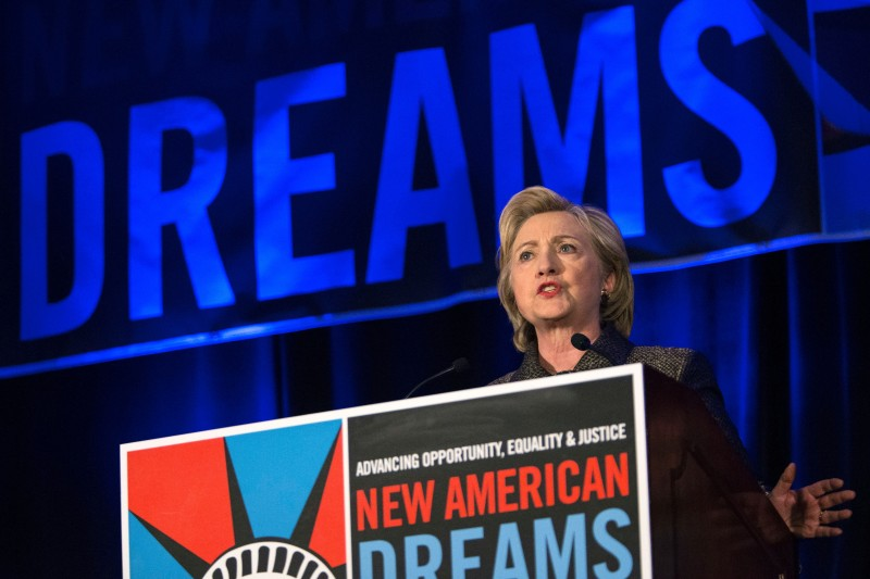 Hillary Clinton, former Secretary of State and 2016 Democratic presidential hopeful speaks during the 2015 integration immigration conference in Brooklyn, New York on December 14, 2015. AFP PHOTO/KENA BETANCUR / AFP / KENA BETANCUR        (Photo credit should read KENA BETANCUR/AFP/Getty Images)